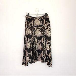 NWOT Max Studio 100% Silk Black Cream Toile Skirt